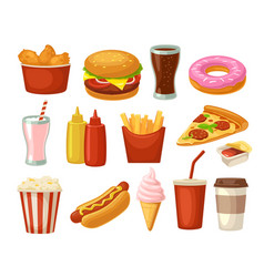 set fast food icon cup cola hamburger pizza vector image vector image