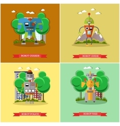 Set of robots flat style design vector