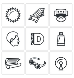 Set of sun tanning icons sun lounger vector