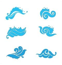 Set waves vector image vector image