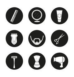 Shaving black icons set vector