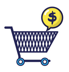 Shopping car with dollar symbol inside chat bubble vector