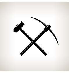Silhouette of a Crossed Pickaxe and Sledgehammer vector image