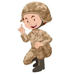 Soldier in brown uniform vector