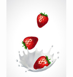 Strawberries and milk splash vector