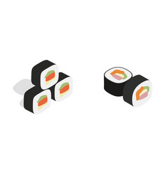 sushi icon set isometric style vector image vector image