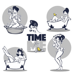 time for me collection of beautiful women taking vector image vector image