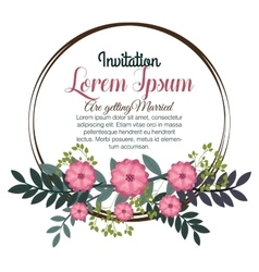 Floral wedding invitation isolated icon design vector