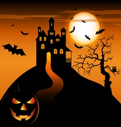 Halloween night with haunted castle and grinning vector