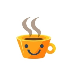 Coffe mug primitive icon with smiley face vector