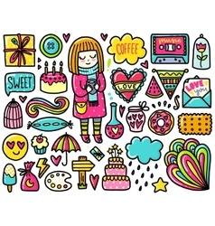 Doodles cute color elements vector
