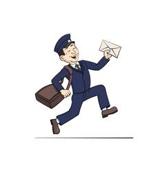Funny Postman with Letter vector image