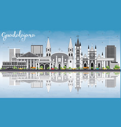 Guadalajara skyline with gray buildings blue sky vector
