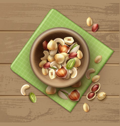 different nuts in bowl vector image