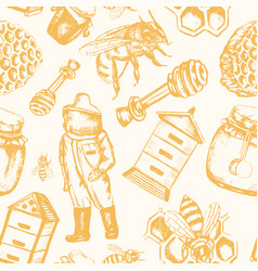 Bee garden - hand drawn seamless pattern vector