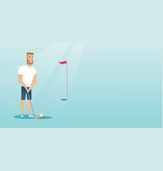 young caucasian golfer hitting a ball vector image