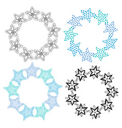 Stars frame isolated decoration set sketchy hand vector