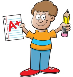 Cartoon boy holding a paper and pencil vector