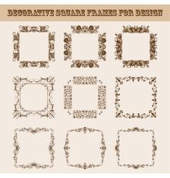 Set of square frames for design vector image