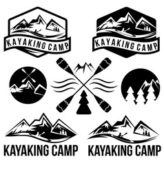 Kayaking camp vintage labels set vector