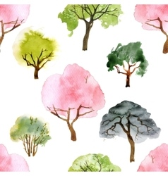 Watercolor trees seamless pattern vector