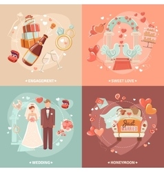 Wedding concept 4 flat icons square vector