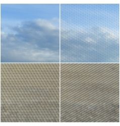 Dry land and blue sky with clouds collection of vector
