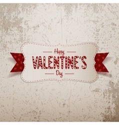 Big valentines day white banner with red ribbon vector