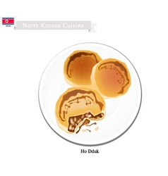 Ho dduk or korean sugar filled pancake vector