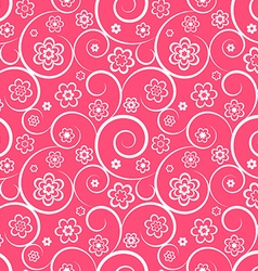 Pink seamless pattern with flowers and swirls vector