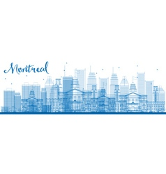 Outline montreal skyline with blue buildings vector