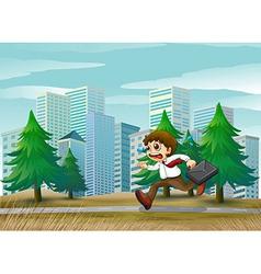 A man running hurriedly vector
