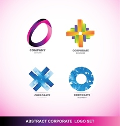 Abstract corporate business logo icon set vector