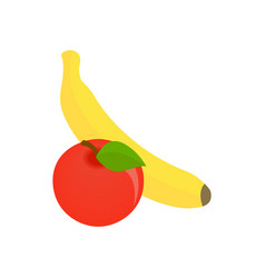 Apple and banana icon isometric 3d style vector image