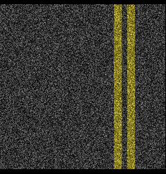 Asphalt road with double yellow marking line vector