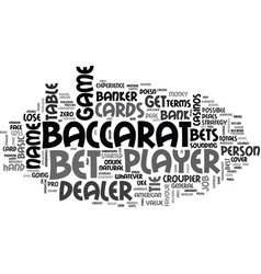 Basic baccarat terms text word cloud concept vector