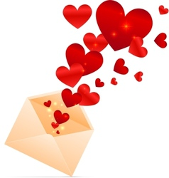 beige envelope with red shining hearts vector image