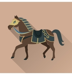 Brown Horse in Gold Collar Isolated Avatar Icon vector image