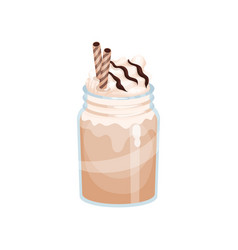 chocolate or mocha milk smoothie refreshment vector image