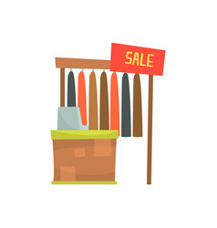 Clothing store with cash desk sales counter in vector