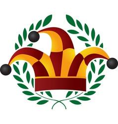 clown cap and laurel wreath vector image vector image