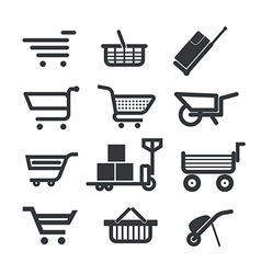 Collection of different trolleys and carts vector image vector image