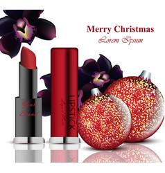 cosmetics realistick lipstick and mascara vector image vector image