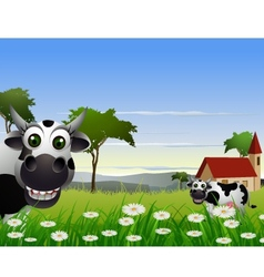 cute cow cartoon with landscape background vector image vector image
