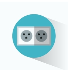 Electric power plug blue circle shadow vector