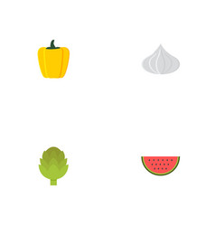 flat icons bulgarian bell onion melon slice and vector image vector image