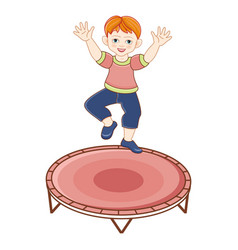 Flat redhead boy jumping at trampoline vector