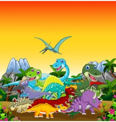 Funny dinosaur cartoon with forest landscape backg vector