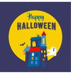 Halloween greeting card with ghosts haunted house vector image