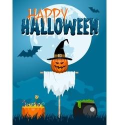 Halloween scarecrow postcard vector